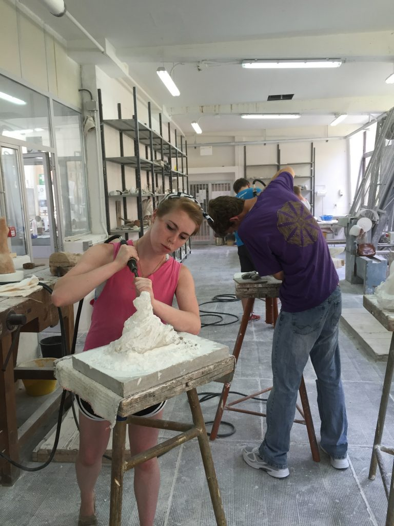 Volterra is known for its alabaster, and students carve artwork there they collect in an exhibit back at Detroit Mercy. This year's exhibit is part of the Homecoming celebration Sept. 29-30.