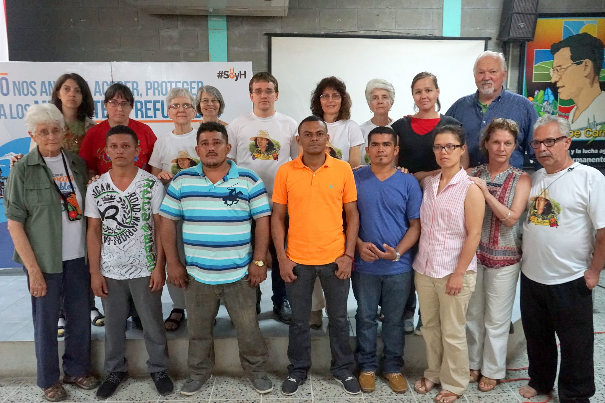 Presbey, center, with political prisoners in Progreso, Honduras.