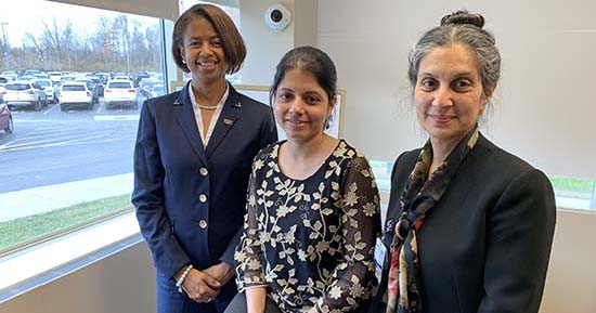 From left to right, Melanie Mayberry, D.D.S., Arati Kelekar, M.D. and Nelia Afonso, M.D., work together at the Clinical Skills Center on the inter-professional curriculum for OUWB and Detroit Mercy.