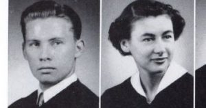 Clare Gerow and Mary Jane Gillett were side by side in the 1951 University of Detroit Tower yearbook.