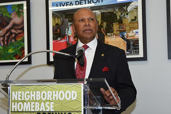 Detroit Mercy President Antoine M. Garibaldi discussed the vision for Neighborhood HomeBase.