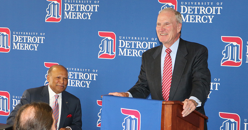 Detroit Mercy President Antoine M. Garibaldi, left, and Dick Charlton at the announcement of the Charlton Center for Responsible Investing.