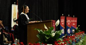 Valedictorian Mary Margaret Payne addresses the crowd.