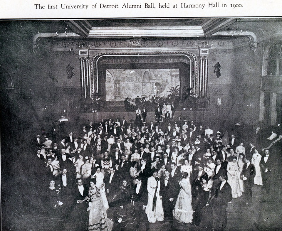 This photo is of an alumni ball in 1900.