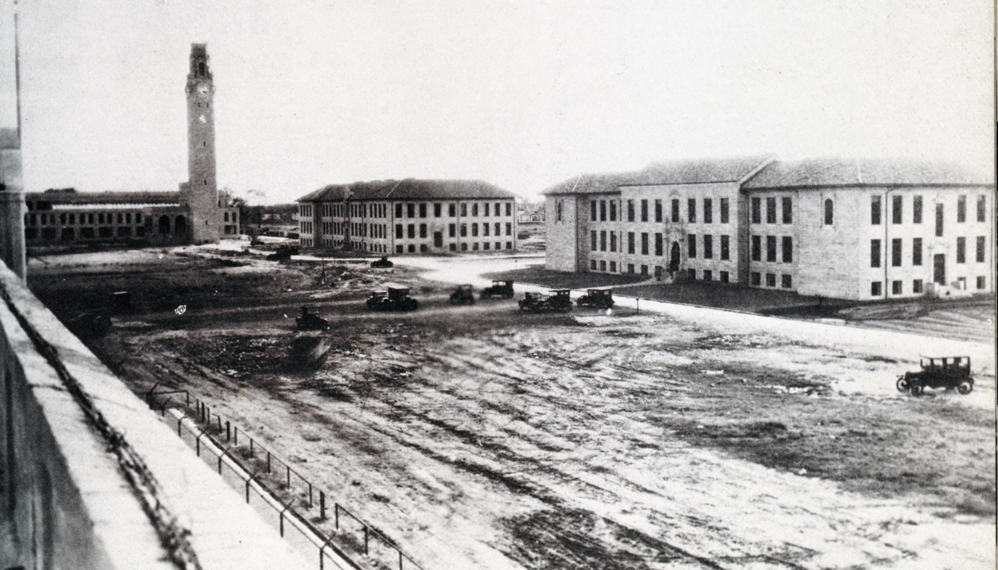 It was this photo of the McNichols Campus under construction that inspired Ken Tash '78 to start his Facebook group dedicated to University of Detroit Mercy history.