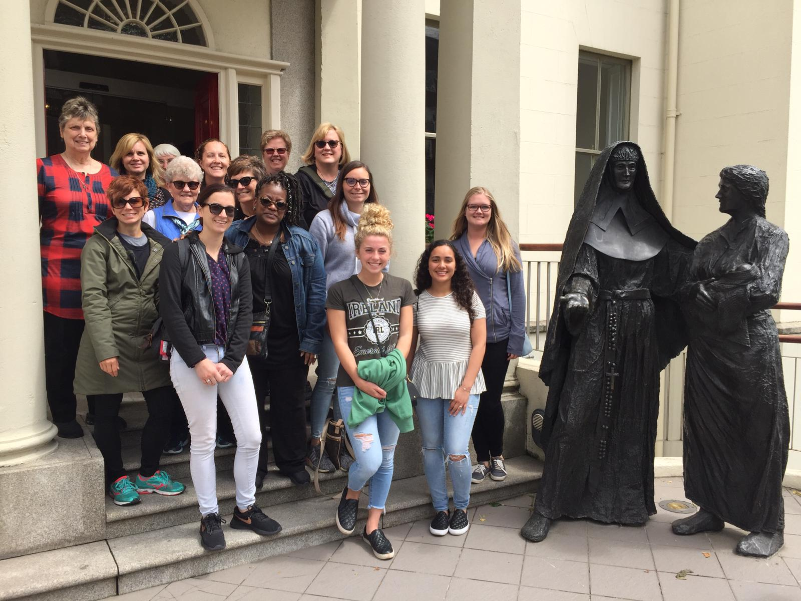 Detroit Mercy faculty, students and alumni visited Ireland and stopped at Mercy International, the home on Baggot Street built by Catherine McAuley to care for Dublin's poor.