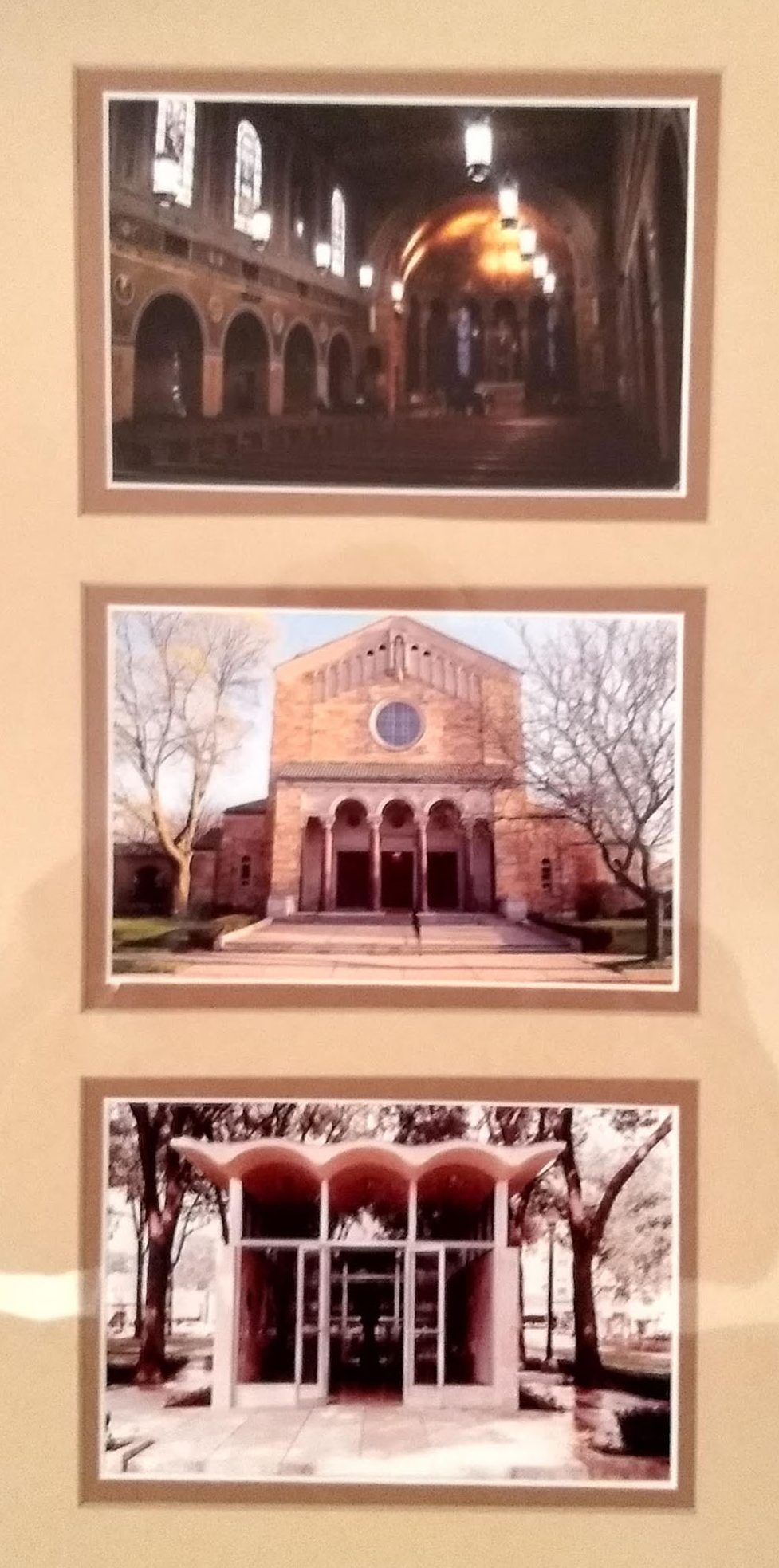 The bottom photo is Our Lady of Lourdes Chapel on Detroit Mercy's McNichols Campus, where Jim and Ruth Strand were engaged. The other two photos are of Precious Blood, where they were married 52 years ago.