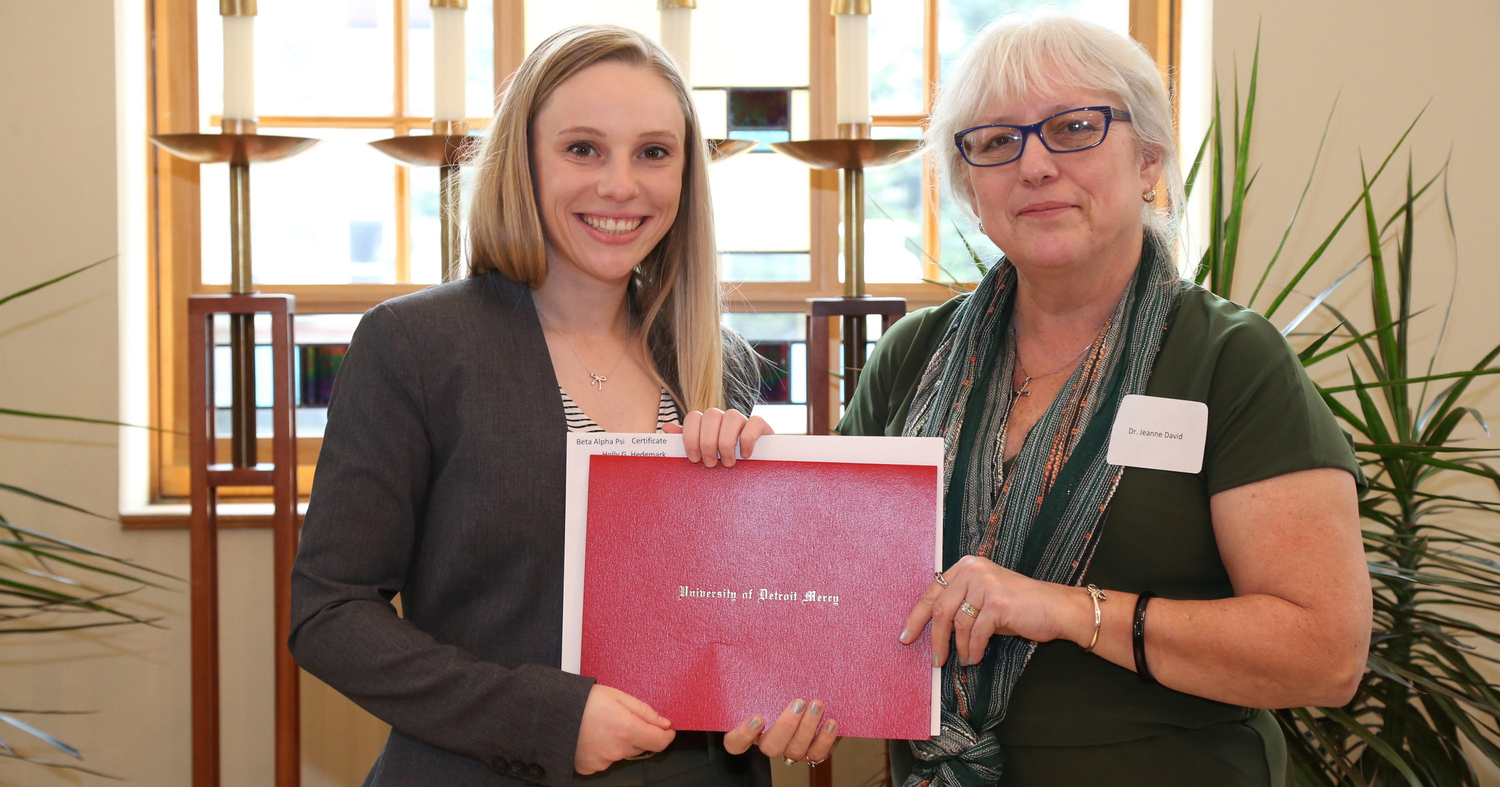 Holly McCartney, '17, '18, with Dr. Jeanne David, Associate Professor of Accounting