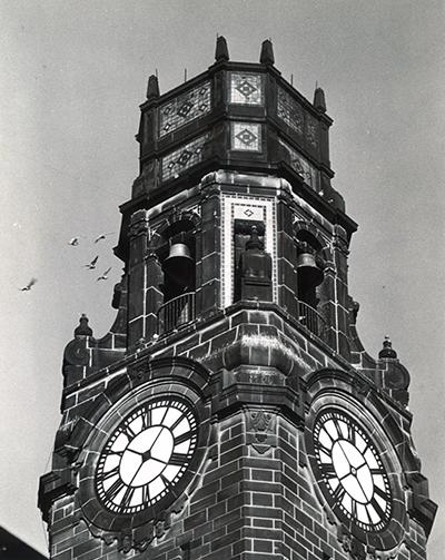 Vintage photo of the Detroit Mercy Clocktower