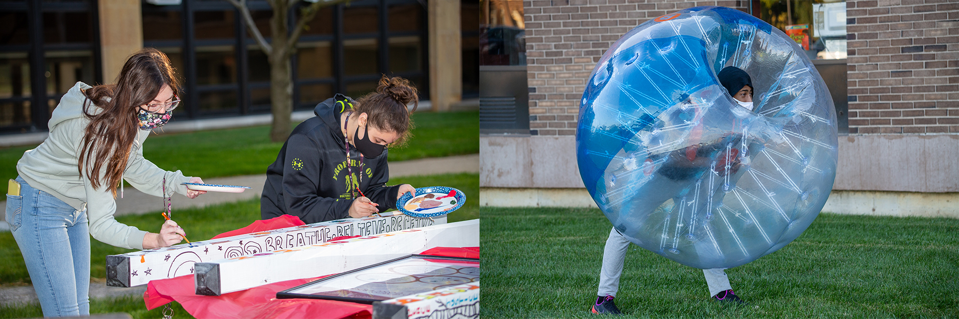 Students participating in bubble soccer and painting at Fall Festival.