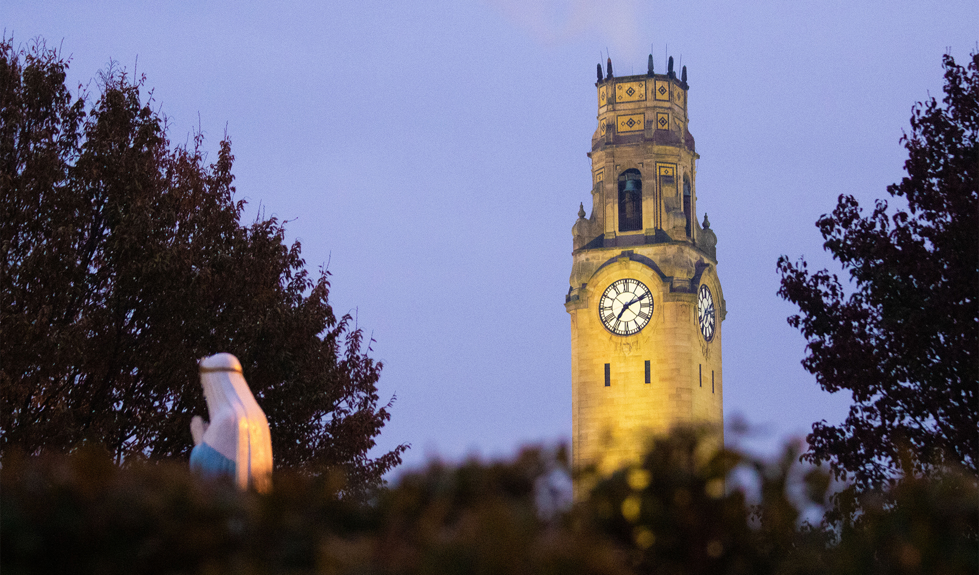 A photo of the clock tower on University of Detroit Mercy's McNichols Campus.